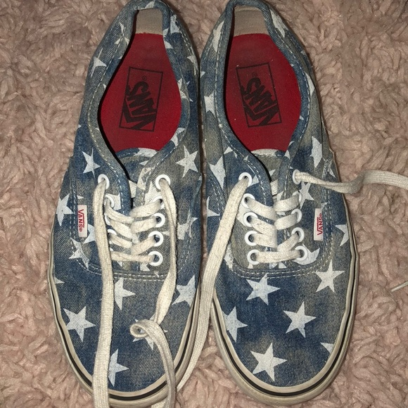 Vans Jean Material With White Stars & Red Insole